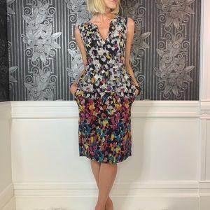 BCBGMAXAZRIA Silk Peplum Dress